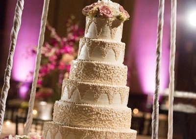 Beautiful Wedding Cake Displayed on a Swing